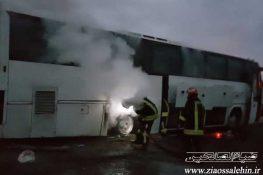 اتوبوس مسافربری پارس آباد – اردبیل طعمه حریق شد